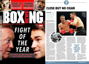 "Cornelius Carr in Boxing News ""Life after the bell"""