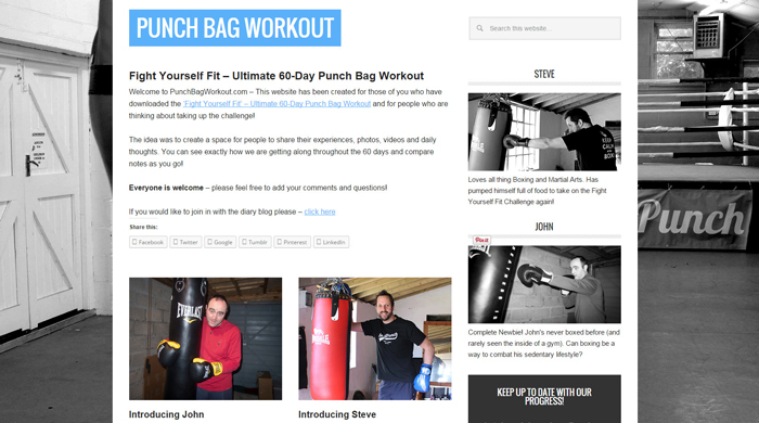 Punch Bag Workout - Progress Blog
